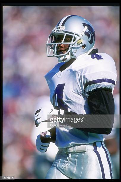 Free safety Mario Smith of the Kansas State Wildcats stands on the field during a game against the Kansas Jayhawks at Memorial Stadium in Lawrence...