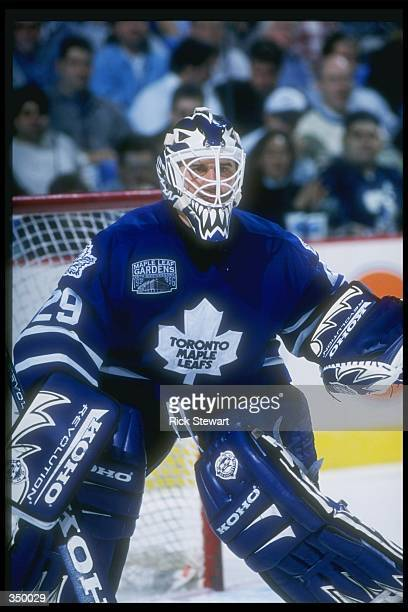 Goaltender Felix Potvin of the Toronto Maple Leafs looks on during a game against the Buffalo Sabres at the Marine Midland Arena in Buffalo New York...