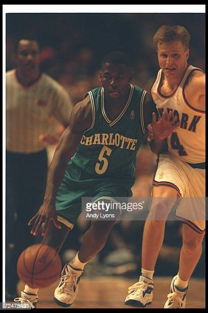 Guard Anthony Goldwire of the Charlotte Hornets works against a New York Knicks player during a game at Madison Square Garden in New York City, New...