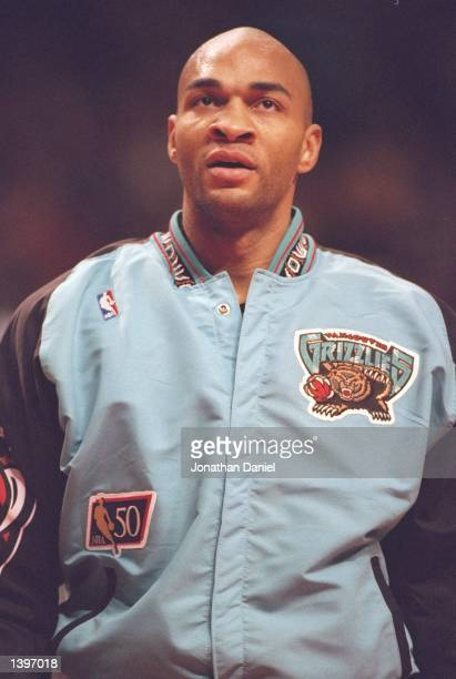 Guard Blue Edwards of the Vancouver Grizzlies looks on during a game against the Chicago Bulls at the United Center in Chicago Illinois The Bulls won...