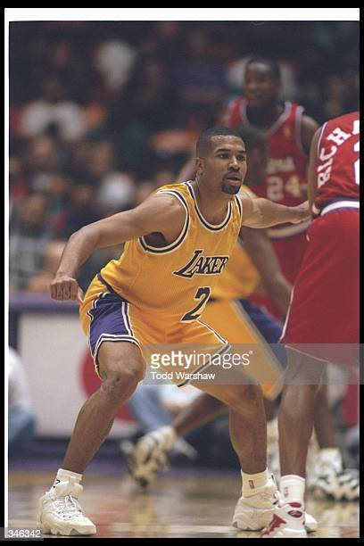 Guard Derek Fisher of the Los Angeles Lakers looks on during a game against the Los Angeles Clippers at the Great Wstern Forum in Inglewood...