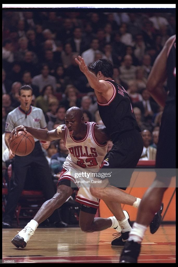 2f89dac5cee Guard Michael Jordan of the Chicago Bulls works against Miami Heat ...