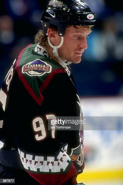 Jeremy Roenick of the Phoenix Coyotes in action against the Calgary Flames in the Canadien Airlines Saddledome in Calgary Canada Mandatory Credit Ian...