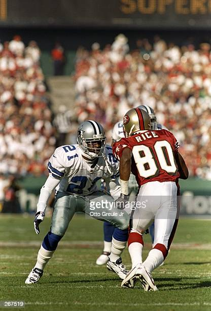 Jerry Rice of the San Francisco 49ers'' in action against former teammate Deion Sanders of the Dallas Cowboys during their 2017 loss to the Dallas...