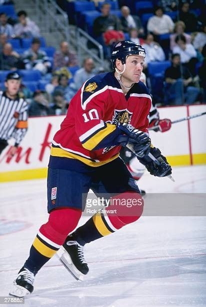 Leftwinger Dave Lowry of the Florida Panthers moves down the ice during a game against the Buffalo Sabres at the Marine Midland Arena in Buffalo New...
