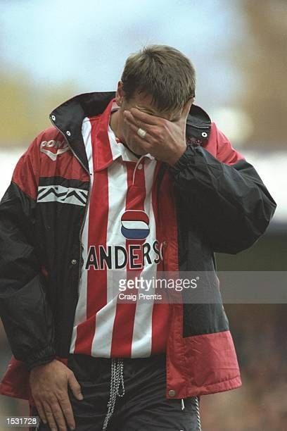Matthew Le Tissier of Southampton leaves the pitch dispondent after picking up an injury during the FA Carling Premier league match between...