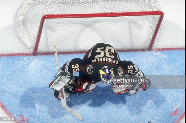 Nikolai Khabibulin of the Phoenix Coyotes in action during a game against the Calgary Flames at the Canadien Airlines Saddledome in Calgary Canada...