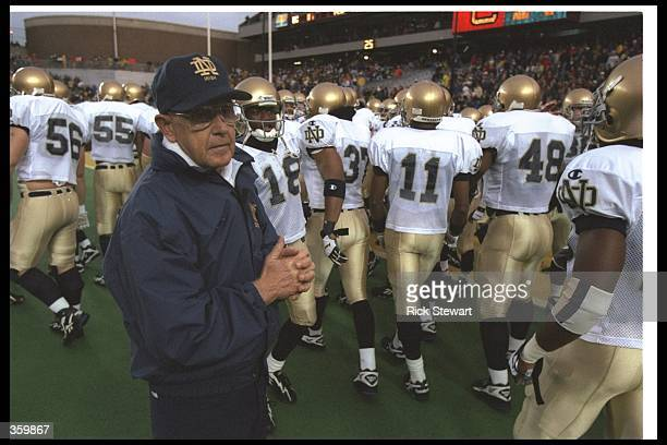 Notre Dame Fighting Irish head coach Lou Holtz looks on during a game against the Boston College Eagles at Alumni Stadium in Chestnut Hill...
