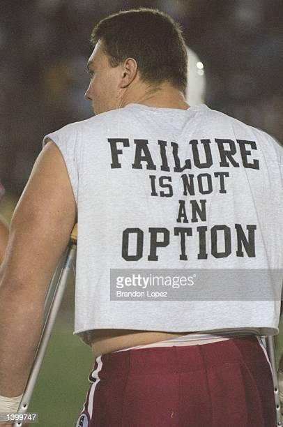 Offensive tackle Nathan Parks of the Stanford Cardinal wears an inspirational slogan on his back during a game against the UCLA Bruins at the Rose...