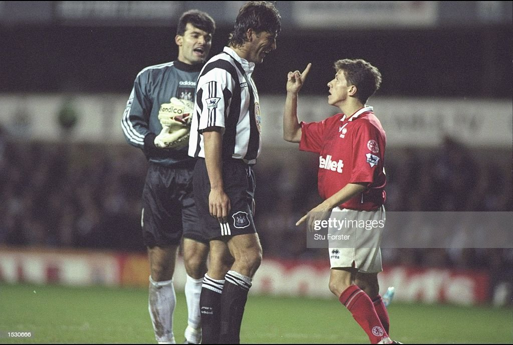 Phillipe Albert of Newcastle (right) confronts Juninho of Middlesbrough during the FA Carling Premier league match between Newcastle United and Middlesbrough at St.James''Park in Newcastle. Newcastle won 3-1. Mandatory Credit: Stu Forster/Allsport
