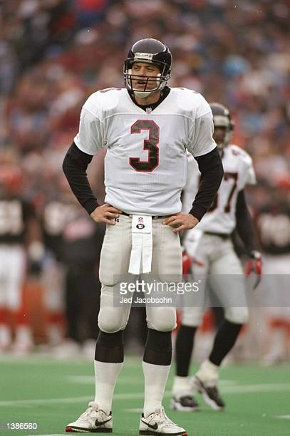 Quarterback Bobby Hebert of the Atlanta Falcons stands on the field during a game against the Cincinnati Bengals at Riverfront Stadium in Cincinnati...