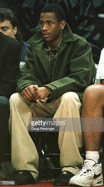 Rookie Allen Iverson of the Philadelphia 76ers had to sit the bench due to injury as the Bullets defeated the 76ers 88-76 at the US AIr Arena in...
