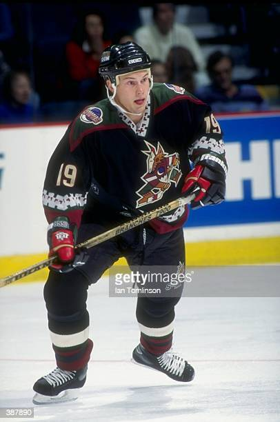 Shane Doan of the Phoenix Coyotes in action against the Calgary Flames in the Canadien Airlines Saddledome in Calgary Canada Mandatory Credit Ian...