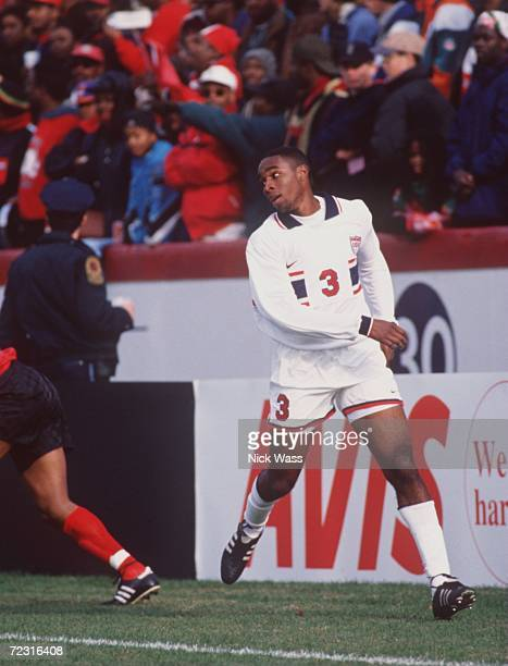 Soccer player Eddie Pope of team USA follows the ball during their international game against Trinidad at the University of Richmond in Richmond...