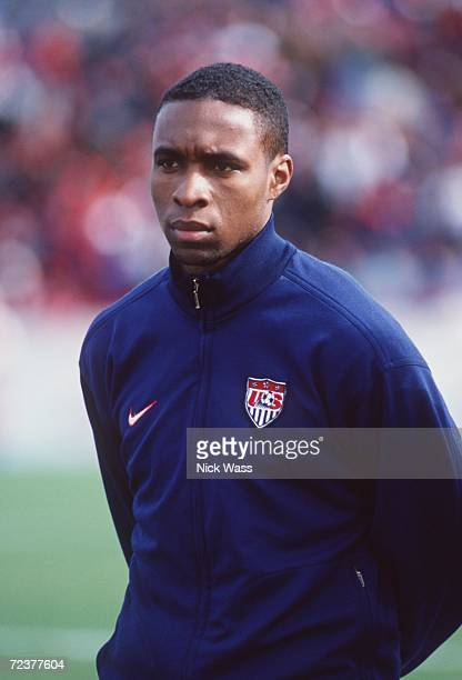 Soccer player Eddie Pope of team USA waits for the start of their international game against Trinidad at the University of Richmond in Richmond...