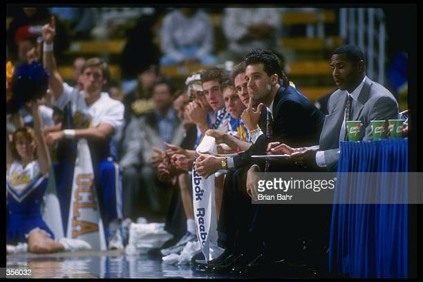 UCLA Bruins coach Steve Lavin looks on during a game against the Athletes in Action at Pauley Pavilion in Los Angeles California UCLA won the game...