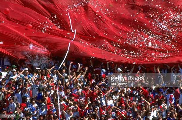 Chile fans support their team during the World Cup qualifier against Bolivia in Santiago Chile Chile won 30 Mandatory Credit Stu Forster /Allsport