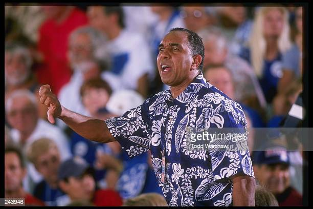 """Coach Orlando """"Tubby"""" Smith of the Kentucky Wildcats watches his players during a game against the George Washington Colonials at the Maui..."""