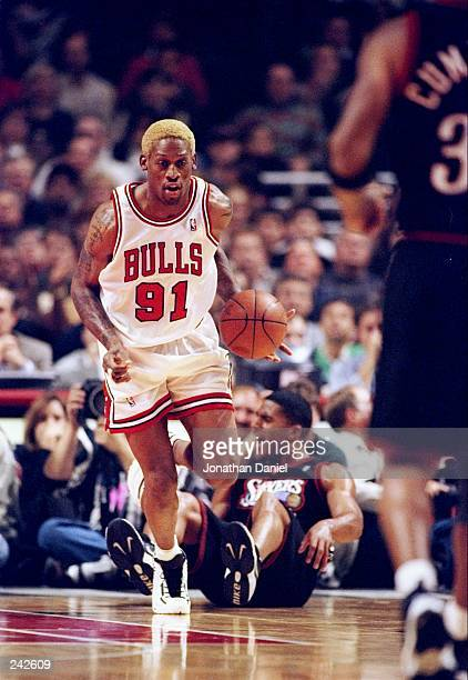 Dennis Rodman of the Chicago Bulls in action during the Bulls 9474 win over the Philadelphia 76ers at the United Center in Chicago Illinois Mandatory...