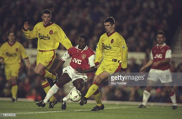 Dominic Matteo of Liverpool clears the ball from Christopher Wreh of Arsenal during an FA Carling Premiership match at Highbury in London Liverpool...