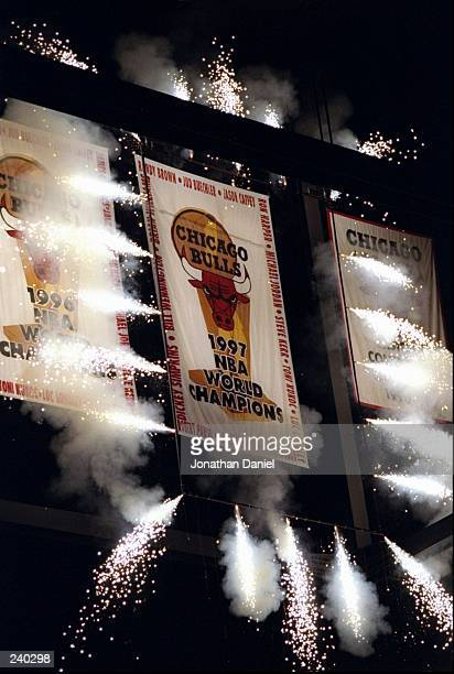 General view of a new banner for the Chicago Bulls during the presentation of championship rings prior to a game against the Philadelphia 76ers at...