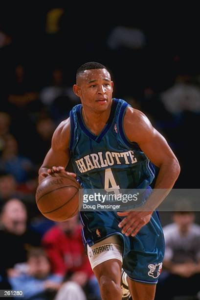 Guard David Wesley of the Charlotte Hornets moves the ball during a game against the Washington Wizards at the MCI Center in Washington D C The...