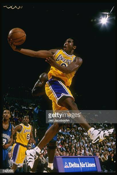 Guard Kobe Bryant of the Los Angeles Lakers in action during a game against the Minnesota Timberwolves at the Great Western Forum in Inglewood...