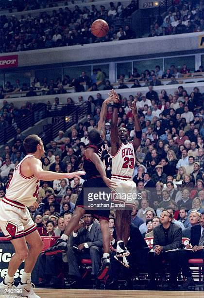 Guard Michael Jordan of the Chicago Bulls in action during a game against the Philadelphia 76ers at the United Center in Chicago Illinois The Bulls...