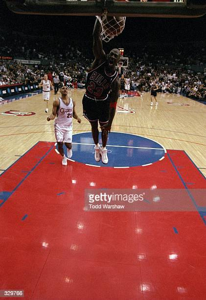 Guard Michael Jordan of the Chicago Bulls in action during a game against the Los Angeles Clippers at the Los Angeles Sports Arena in Los Angeles...