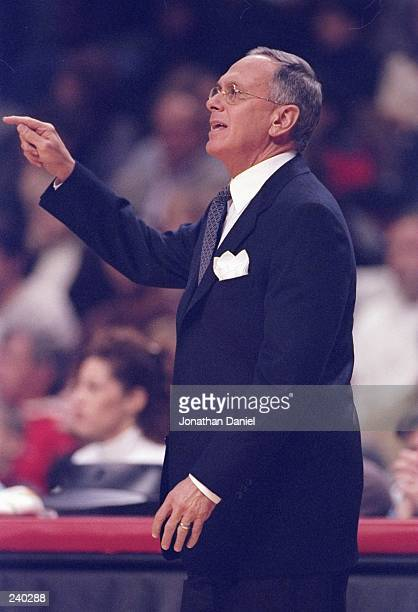 Head coach Larry Brown of the Philadelphia 76ers looks on during a game against the Chicago Bulls at the United Center in Chicago Illinois The Bulls...