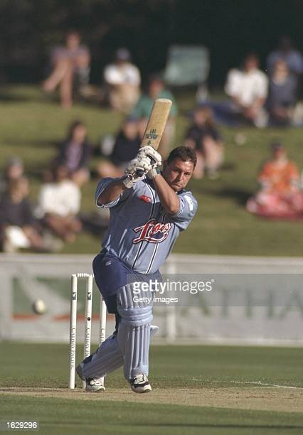 Ian Austin of England plays a shot during the Cricket Max game against New Zealand in Hamilton New Zealand Mandatory Credit Allsport UK /Allsport