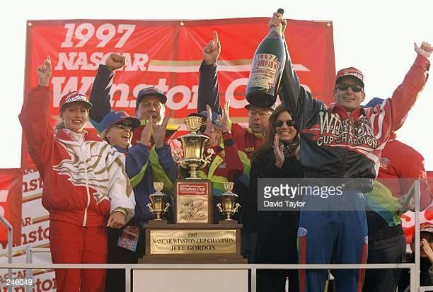 Jeff Gordon celebrates winning the NASCAR Championship after the NAPA 500 at the Atlanta Motor Speedway in Hampton, Georgia.