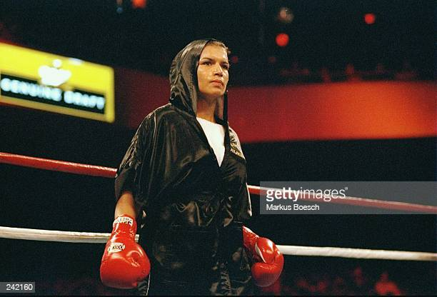Lucia Rijker looks on during her fight with Jeannette Witte at the Grand Olympic Auditorium in Los Angeles California Rijker won the bout with a TKO...