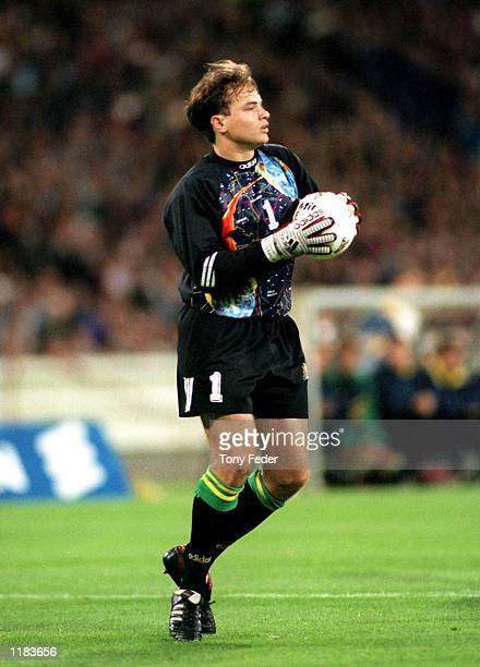 Mark Bosnich of the Socceroos in action during the 2nd leg of the World Cup Qualifier between Australia and Iran played at the MCG Melbourne...