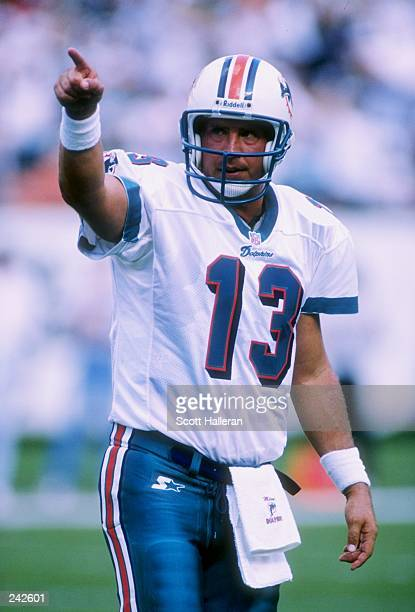 Quarterback Dan Marino of the Miami Dolphins during the Dolphins 2417 win over the New York Jets at Pro Player Stadium in Miami Florida Mandatory...