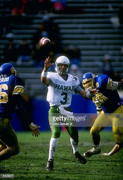 Quarterback Tim Carey of Hawaii throws a pass during the Rainbows 3814 loss to San Jose State at Spartan Stadium in San Jose California