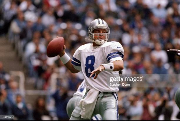Quarterback Troy Aikman of the Dallas Cowboys sets to throw a pass during the Cowboys 246 win over the Arizona Cardinals at Texas Stadium in Irving...