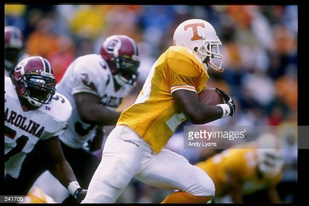 Tailback Mark Levine of the Tennessee Volunteers runs with the ball during a game against the South Carolina Gamecocks at Neyland Stadium in...