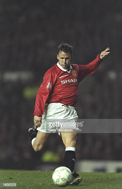 Teddy Sheringham of Manchester United in action during the Champions League match against Kosice at Old Trafford in Manchester, England. Manchester...
