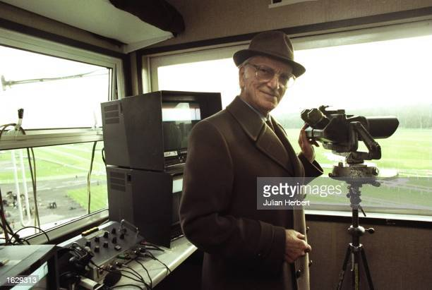 Television commentator Peter O'Sullevan relaxes on his last day for the BBC during the Hennessy Gold Cup at Newbury England Mandatory Credit Julian...