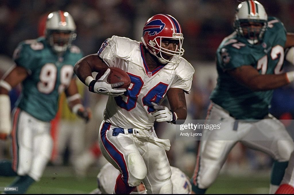 Thurman Thomas #34 of the Buffalo Bills in action during a Monday night football game against the Miami Dolphins at Pro Player Stadium in Miami, Florida. The Dolphins defeated the Bills 30-13. Mandatory Credit: Andy Lyons /Allsport