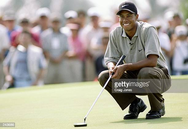 Tiger Woods kneels on the seventh green during the Mastercard PGA Grand Slam of Golf at the Grand Hyatt at Poipu Bay in Kaua''i Hawaii