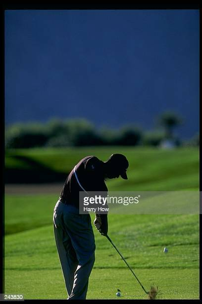 Tiger Woods swings at the ball during the Skins Game at the Rancho La Quinta Country Club in La Quinta California Mandatory Credit Harry How /Allsport