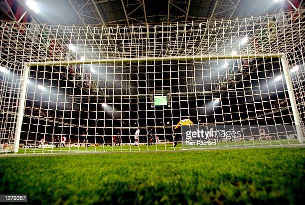 A shot from behind the goal at the Champions League match between Ajax and Olympiakos at the Amsterdam Arena in Amsterdam Holland Ajax won the game...
