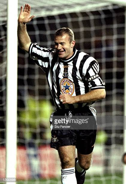 Alan Shearer of Newcastle celebrates his goal in a Worthington Cup 4th Round match against Blackburn in St James Park in Newcastle England The match...