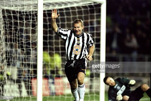 Alan Shearer of Newcastle celebrates nis goal during the Worthington Cup Round 4 match against Blackburn Rovers at St James'' Park in Newcastle...