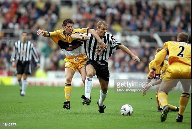 Alan Shearer of Newcastle in action during the FA Carling Premiership match against Sheffield Wednesday at St James'' Park in Newcastle England The...