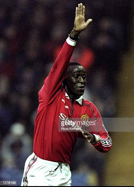 Andy Cole of Manchester United celebrates his goal during the FA Carling Premiership match against Sheffield Wednesday at Hillsborough in Sheffield...
