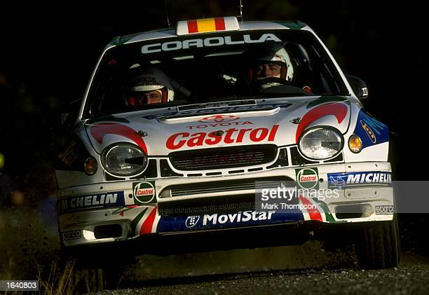 Carlos Sainz of the Toyota Corolla team in action during the Network Q Rally of Great Britain Great Britain Mandatory Credit Mark Thompson /Allsport