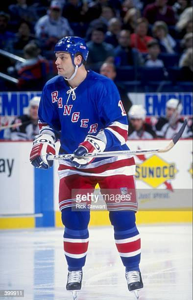Center Esa Tikkanen of the New York Rangers in action during a game against the Buffalo Sabres at Marine Midland Arena in Buffalo, New York. The...